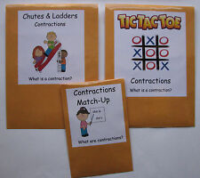 Teacher Made Literacy Centers Learning Resource Games Contractions Pack