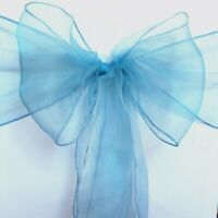 25 Dusty blue Organza Sheer Chair Sashes Wedding Banquet Party Events Decoration