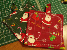 """Potholders Set of Two   """"SANTA CLAUSE""""   100% Cotton Handmade By Mamie"""