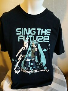 Hatsune Miku Virtual Voice Project Diva  T-Shirt Black Large Sega Anime