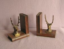 Antique Bronze Stags Head and Oak Bookends