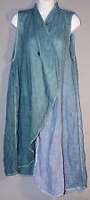 CYNTHIA ASHBY 1-Button Layering Wrap Vest Linen Cotton Blue Artsy Lagenlook XS