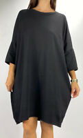 CITY CHIC Black 3/4 Dolman Sleeve Cotton Sweater Dress Plus Size M AU 18 Casual