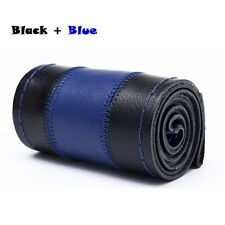 Black +Blue Genuine Leather 38cm DIY Car Steering Wheel Cover With Needle Thread