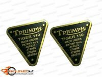 Brand New Pair of Triumph Patent Plate Brass Tiger 110 Timing Cover Badge