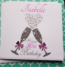 Personalised Handmade Birthday Card 18th 21st 30th 40th 50th 60 Champagne Glass