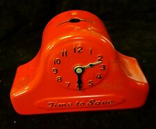 """Vintage """"Time to Save"""" Clock With Movable Hands Still Bank"""