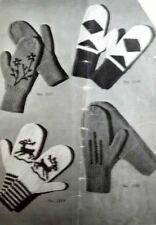 Vintage Knitting Pattern Book Laceys SocksMittens1949 Reindeer Snowflakes