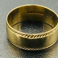 Solid 9ct 375 Yellow Gold 7.5mm Wide Wedding Band Ring sz UK R US 8 1/2 L154