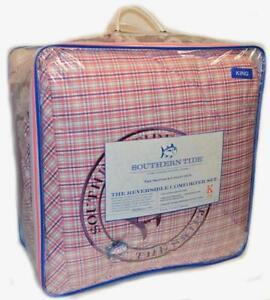 SOUTHERN TIDE Strawberry Mast Violet & Pink Plaid 3P KING COMFORTER SET PURPLE