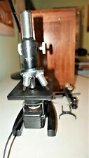 Vintage Black Bampl Bausch Amp Lomb Microscope With Wood Case Amp Extra Parts