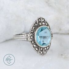 Vintage Sterling Silver | UNCAS Marcasite Blue Crystal 2.6g | Ring (5.75)