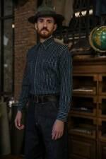 Indigo Denim Cotton Wabash Stripe Work Shirt Size Large in New Condition