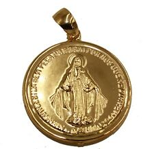 Virgen de la Medalla Milagrosa Round Medal 18k Gold Plated Pendant with Chain