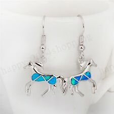 Blue Opal Horse Shaped Dangle/Drop Wedding Earring 10K White Gold Filled Fashion