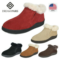 DREAM PAIRS Women's Suede Sheepskin Fur Winter Warm Slippers Loafer Shoes