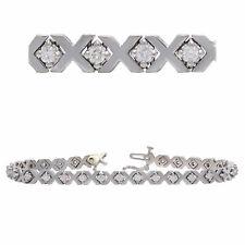 14k White Gold 4.92ctw Ruby & Diamond Pave Heart Link Bracelet