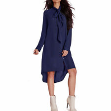 Womens Ladies Chiffon Shirt Dress Long Sleeve Loose Blouse T-shirt Casual Tops