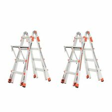 Little Giant Velocity 17 Aluminum Adjustable Folding Ladder Amp Platform 2 Pack