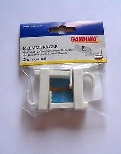 Gardinia - Klemmträger,Halterung für Gardinenstangen, 2er Pack, ohne Bohren