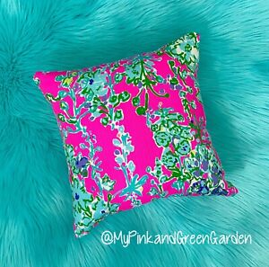 New throw pillow made with LILLY PULITZER Pop pink Southern Charm fabric