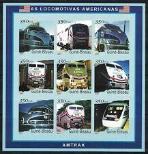 Guinea Bissau: 2001 mini sheet MNH Amtrak American Locomotives