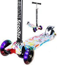 Eedan Scooter for Kids 3 Wheel T-bar Adjustable Height Handle Kick Scooters with