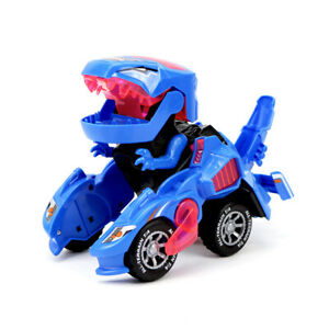 EG_ ELECTRIC TRANSFORMING DINOSAUR 360 ROTATING LED CAR DEFORMABLE KIDS TOY SMAR