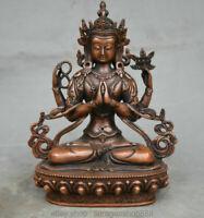 Tibet Bouddhisme Bronze Rouge 4 bras Statue du Bouddha Chenrezig Avalokiteshvara