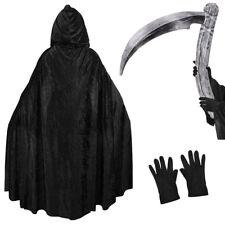 GRIM REAPER HALLOWEEN FANCY DRESS COSTUME SET BLACK VELOUR CAPE SCYTHE GLOVES
