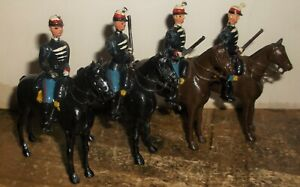 4 Vintage Britains Ltd French ? Cavalry Trooper On Horse Metal Toy Soldiers