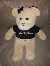 "Fiesta Lets Dance Teddy Bear Plush 12"" Red Gem Belly Button Rhinestone Eyelashes"