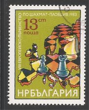 Bulgaria #2904 (A1115) Vf Used - 1983 13s Chess Pieces, Map of Europe