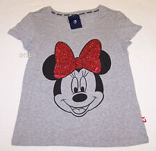 Disney Minnie Ladies Grey Glitter Printed Short Sleeve T Shirt Size XS New