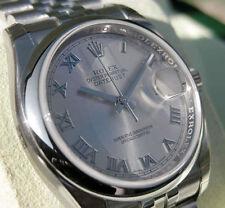 Rolex DATEJUST 116200 Mens Steel Jubilee 36MM Domed Bezel Rhodium Roman Dial