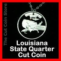 Louisiana Quarter Cut Coin Necklace New Orleans Jazz Music Mardi Gras 25¢
