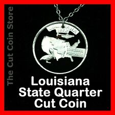 Louisiana Quarter Cut Coin Necklace New Orleans Jazz Music Pelican State 25¢