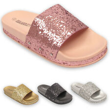LADIES WOMENS SLIP ON GLITTERY SLIDERS SLIPPER SUMMER SPARKLY SANDALS SHOES SIZE