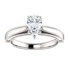 10k White Gold Setting Semi Mount Ring Pear Milgrain Engagment Ring Vintage