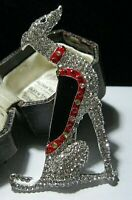 Vintage Style Art Deco Revival GREYHOUND Dog Enamel Crystal Pin Jewellery BROOCH