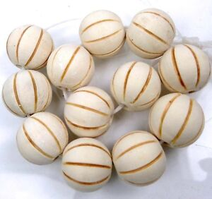 16mm Antique / off White Wood Carved Melon Round Beads natural undyed (12)