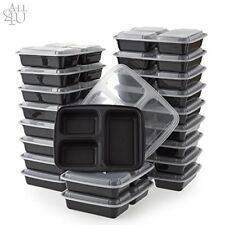 3-Compartment Microwave Safe Food Container with Lid/Divided Plate/Lunch Tray wi