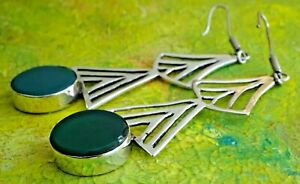 Pair stylish vintage solid sterling silver earrings with green stone. 13.7g