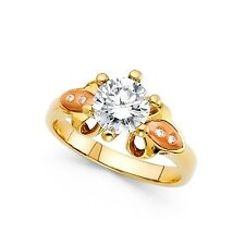 Flower Cz Engagement Ring 14k Yellow & Rose Gold Anniversary Round Cz Band Solid