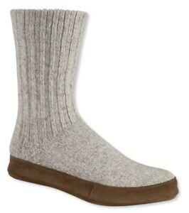L.L. Bean Knit Wool & Brown Suede Slipper Socks in Men's size  L (10.5-11.5)