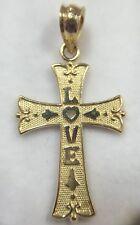"Vintage 14k Yellow Gold Love Heart Cross Religious Pendant Estate Bali Charm 1"""