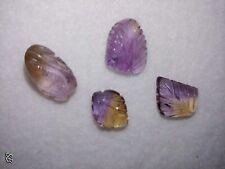 4 Natural AMITRINE Purple Amethyst Citrine Bi-color Carved Leaf Leave NO HOLES