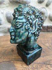 Très Belle ANCIENNE SCULPTURE Buste Tête en CIRE Faune Diable Plâtre Vernissé