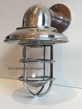 Vintage Industrial Wall Light Bulkhead Marine Aluminium Nautical Silver Lamp