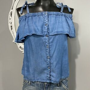 XS womans LUCKY BRAND Lyocell Tencel chambray Blouse Top